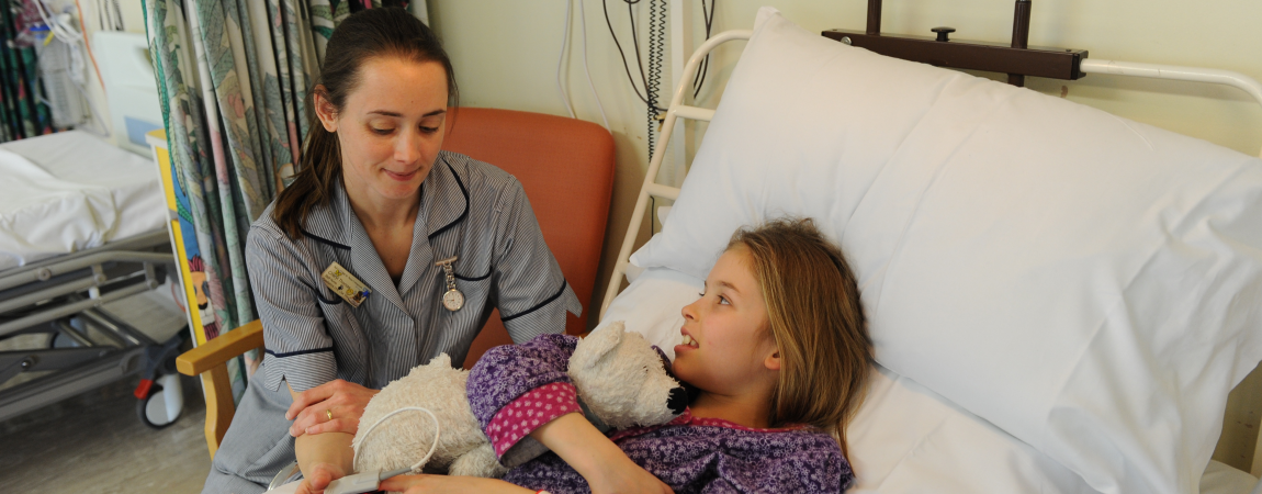 A member of the clinical team with young patient