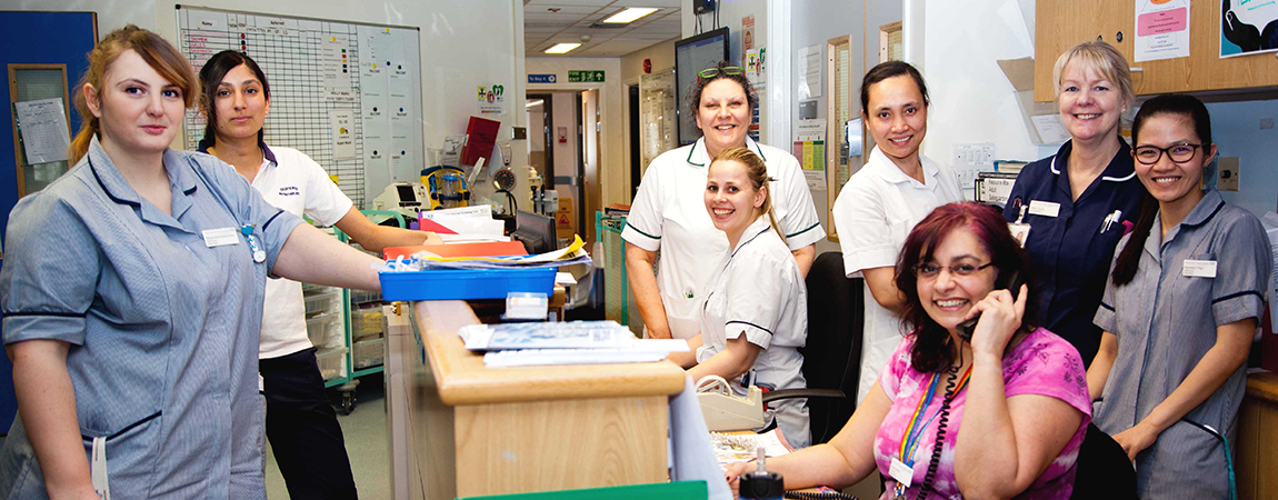 Members of our Senior Adult Medical Service team around reception desk