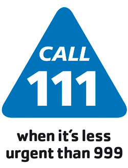 Call 111 logo - click here to find out more about the 111 service