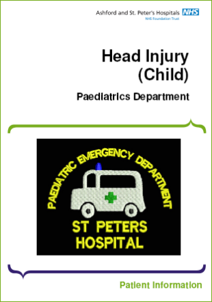 Click to download the Head injury (child) leaflet