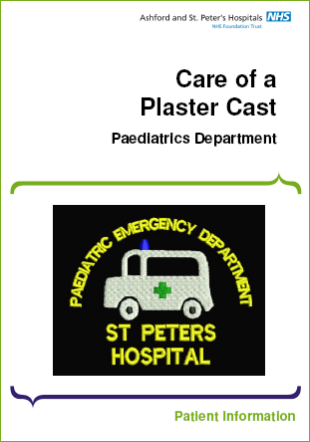 Click to download the Care of a plaster cast leaflet