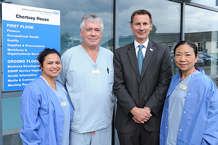 Secretary of State for Health, Jeremy Hunt MP, visits Ashford and St Peter's Hospitals